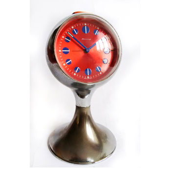 Vintage Blessing Chrome 1967's Tulip Based Pedestal Alarm Clock West Germany red and blue Space Age Design Free shipping