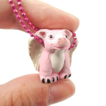 Flying Pig with Wings Shaped Porcelain Ceramic Pendant Necklace | Animal Jewelry