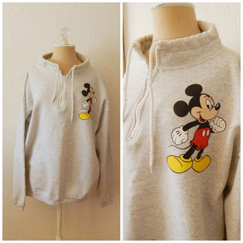 Vintage 90s Mickey Mouse Sweatshirt Drawstring High Neck Half Zip Womens One Size
