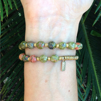 Unakite 'Balance and Love' 27 Bead Wrist Mala Wrap Bracelet