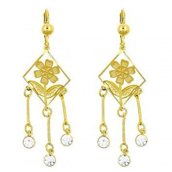 Gold Layered 02.211.0004 Chandelier Earring, Flower and Filigree Design, with White Cubic Zirconia, Polished Finish, Golden Tone