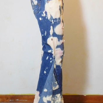 Bell Bottom Jeans, Levi Bell Bottoms, Elephant Bell Bottoms, Extra Wide, Bleached, Torn, Frayed, Dropped Hem, Low Slouch, Upcycled, Size 9