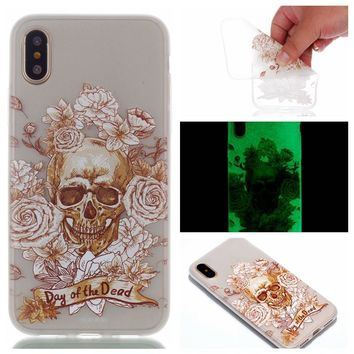 LUOSHUYAN Crystal Transparent Painted Soft TPU Glow in the Dark Luminous Cover For iPhone X Case
