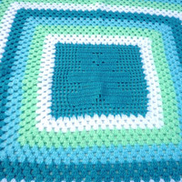 Crochet Baby Blanket. Handmade Baby Boy Granny Square Blanket. Baby Shower Gift in Blues