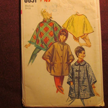 Sale Uncut 1960's Simplicity Sewing Pattern, 6651! 14-16 Medium/Large/Women's/Misses/Rain Coats//Collared Poncho/Turtle Neck Tops/Hooded Pon