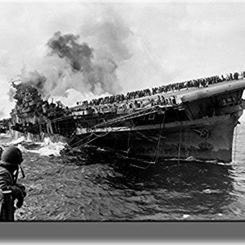 Navy Ship Sinking WWII, Pearl Harbor Picture on Stretched Canvas, Wall Art Decor, Ready to Hang!