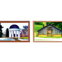 Architectural Aceos, Virginia Art Prints, Miniature Art, Montpelier Estate, James Madison, Set of 2
