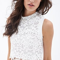 FOREVER 21 Rhinestoned Crochet Boxy Top White