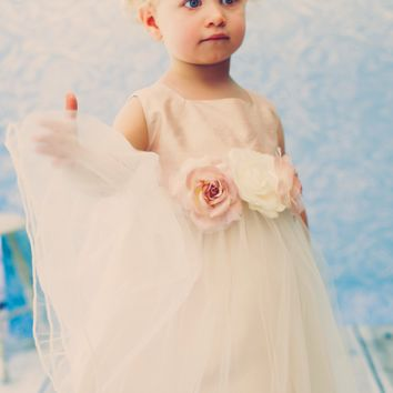 Silk & Tulle Occasion Dress with Floral Waist in White, Ivory or Dusty Rose 3-24M