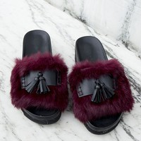 Faux Fur Tassel Slides