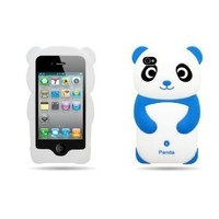 4 Items Combo for Apple Ipod Touch 4 Itouch 4 - Blue 3D Panda Design Soft Silicone Skin Gel Cover Case + Premium Lcd Screen Guard + Microfiber Pouch Bag + Stylus Pen