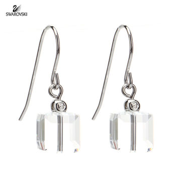 Swarovski Clear Crystal JEWELRY CUBE Pierced Earrings #5022409
