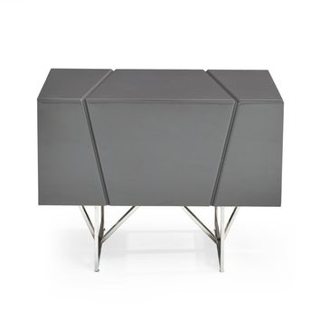 Modrest Chrysler Modern Grey Nightstand