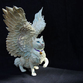 White winged cat figurine sculpture kitty totem figure art decor, animal sculpture cute kawaii, ornament, cute cat