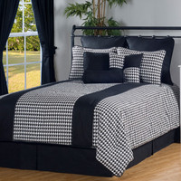 Black and White Houndstooth Bedding Set