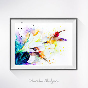 Hummingbird watercolor painting print, Hummingbird art, Flower watercolor, animal illustration,Hummingbird illustration, bird art,