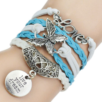 Live your dream, Butterfly & Love Pendant Bracelet