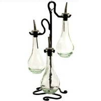 Chic Olive Oil & Vinegar Kitchen Dispenser Decorative Bottles Set of 3 ~ G31 Clear Glass Drop Bottles with Pour Spout and Black Metal Stand