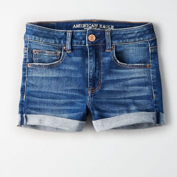 AE Ne(X)t Level High-Waisted Denim Short Short, Horizon Blue