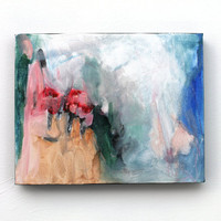 "Original Abstract Painting Small Canvas Urban Contemporary ""Mountain Flowers"""