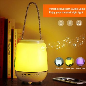 Portable Wireless Music Table Lamp Night light + Bluetooth Speaker & Music Player with Touch Sensor Bedside Lamp  RGB Light
