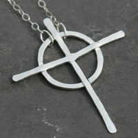 Celtic Cross Necklace, Silver Cross, Christian Faith Jewelry , 18 in Necklace, Christian Cross Necklace, Rustic Cross Maggie McMane Designs