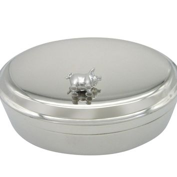Silver Toned Shiny Detailed Pig Pendant Oval Trinket Jewelry Box