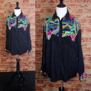 Vintage 1990s Black long sleeve SEQUIN beaded fringe Button Down Rayon blouse Shirt