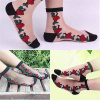 Women Crystal Sock Sheer Thin Transparent Ice Silk Lace Ankle Flower Socks HU