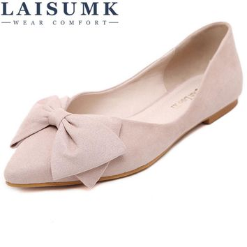 2017 LAISUMK Lady Ballet Flats Sweet Bow Pointy Toe Women's Flats Solid Flock Ballerina Flat Shoes