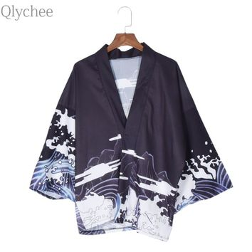 Qlychee Vintage Summer Tops Dragon Printed Harajuku Kimono Soft Women T Shirts