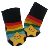 Smiling Yellow 3D Star and Rainbow Stripe Infant/ Sock For Baby Boy or Girl , Non Skid
