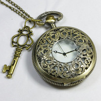 Victoial flower Steampunk necklace Pocket Watch Necklace with a key harry potter pocket watch