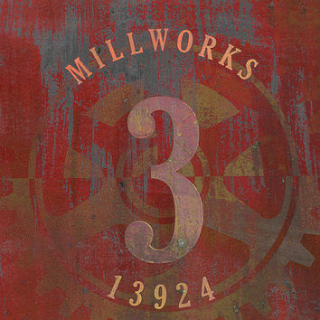 Millworks Industrial Sign Red Grey Print By Suzanne Powers