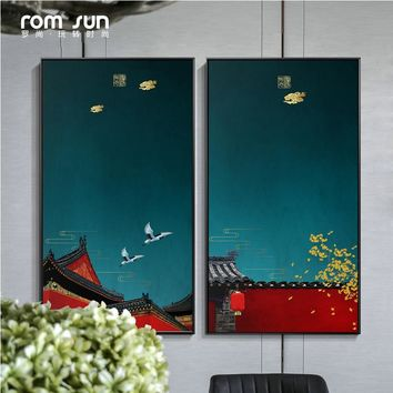 Nordic Red Wall Beauty Flowers Canvas Painting Chinese Posters And Prints Vintage Home Decor Wall Art Pictures For Living Room