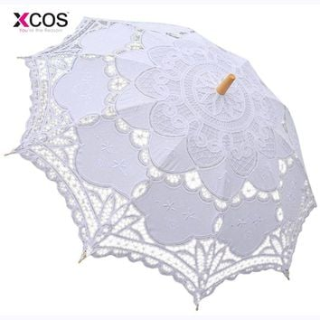 Free Shipping Lace Manual Opening Wedding Umbrella Bride Parasol Umbrella Accessories For Wedding Bridal Shower Umbrella