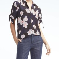Easy Care Dillon-Fit Bow-Sleeve Shirt | Banana Republic