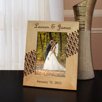 Designs 'Fleur de Lis'  Personalized Inspired Picture Frame with Font Selection (Select Size and Frame Orientation)