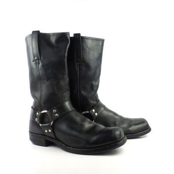 Frye Harness Boots Vintage 1980s Black Leather Men's size 11 D