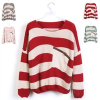 Red Striped Bat Long Sleeve Loose Sweater Red