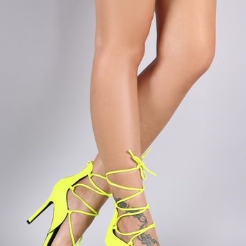 Pointy Toe Lace Up Dorsay Stiletto Pump
