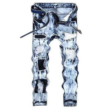32-42 Light Blue Holes Patchwork Stone Washed Ripped Jeans for Men