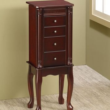 A.M.B. Furniture & Design :: Bedroom furniture :: Jewelry Armoires :: Cherry finish wood Jewelry armoire chest with detailed carved decor accents and decorative door knobs