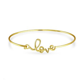 Love Word Bangle Cuff Bracelet 14K Gold Plated 925 Sterling Silver