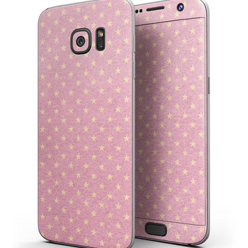 Golden Micro Stars Over Pink - Full Body Skin-Kit for the Samsung Galaxy S7 or S7 Edge
