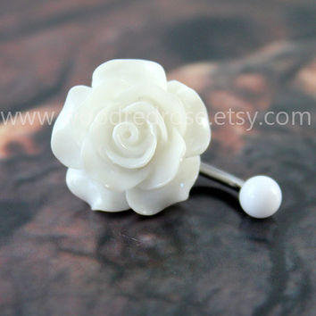 Bridesmaid petite resin rose nickel free ear studs belly ring,White Flower Belly Button Ring Flower Belly Button Piercing