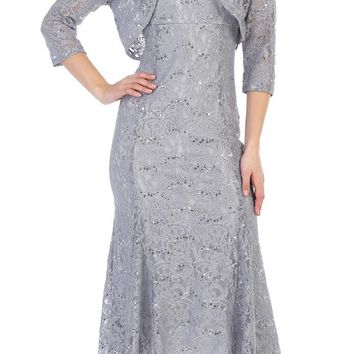 Mother of the Bride Evening Formal Dress with Bolero Jacket