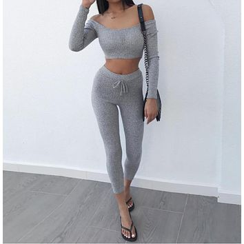 Grey Two Piece Set Women Tracksuit Off Shoulder T Shirt Crop  Leggings