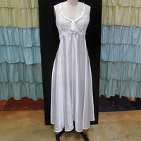 1980s White Satin Floor Length Nightgown with Sheer Lace Rose Embroidery and Bow L/XL