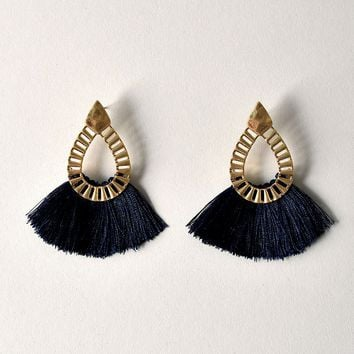 Navy Blue Fringe & Gold Teardrop Dangle Earrings